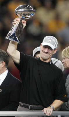 DETROIT - FEBRUARY 05: Head coach Bill Cowher of the Pittsburgh Steelers celebrates with the Vince Lombardi Tropy after defeating the Seattle Seahawks in Super Bowl XL at Ford Field on February 5, 2006 in Detroit, Michigan.The Steelers defeated the Seahaw
