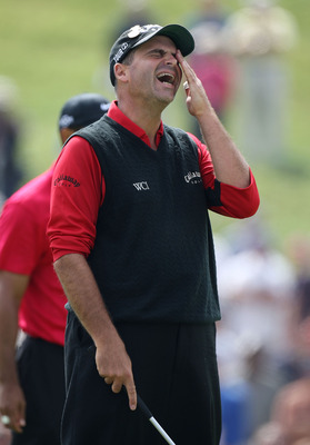 SAN DIEGO - JUNE 16:  Rocco Mediate reacts to missing his birdie putt on the fifth green during the playoff round of the 108th U.S. Open at the Torrey Pines Golf Course (South Course) on June 16, 2008 in San Diego, California.  (Photo by Ross Kinnaird/Get