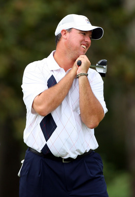 LOUISVILLE, KY - SEPTEMBER 19:  Boo Weekley of the USA team reacts to missing a putt on the eigth hole during the afternoon four-ball matches on day one of the 2008 Ryder Cup at Valhalla Golf Club on September 19, 2008 in Louisville, Kentucky.  (Photo by