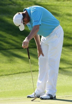 SCOTTSDALE, AZ - OCTOBER 24:  Greg Owen of England reacts to a missed putt on the 14th hole green during the third round of the Frys.com Open at Grayhawk Golf Club on October 24, 2009 in Scottsdale, Arizona.  (Photo by Christian Petersen/Getty Images)
