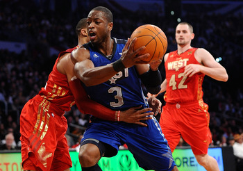 LOS ANGELES, CA - FEBRUARY 20:  Dwyane Wade #3 of the Miami Heat and the Eastern Conference moves the ball in the 2011 NBA All-Star Game at Staples Center on February 20, 2011 in Los Angeles, California. NOTE TO USER: User expressly acknowledges and agree