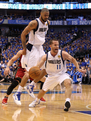 DALLAS, TX - JUNE 07:  Jose Juan Barea #11 of the Dallas Mavericks drives against the Miami Heat in Game Four of the 2011 NBA Finals at American Airlines Center on June 7, 2011 in Dallas, Texas. NOTE TO USER: User expressly acknowledges and agrees that, b