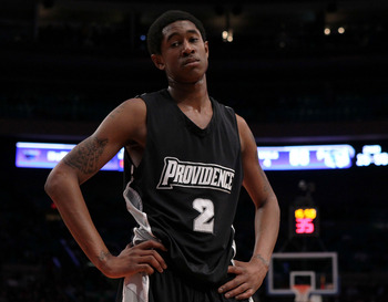 NEW YORK - MARCH 09: Marshon Brooks #2 of the Providence Friars looks on after a play against the Seton Hall Pirates during the first round game of the Big East Basketball Tournament at Madison Square Garden on March 9, 2010 in New York, New York.  (Photo
