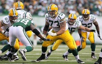 EAST RUTHERFORD, NJ - OCTOBER 31:  Daryn Colledge #73 of the Green Bay Packers in action against the New York Jets on October 31, 2010 at the New Meadowlands Stadium in East Rutherford, New Jersey.The Packers defeated the Jets 9-0.  (Photo by Jim McIsaac/