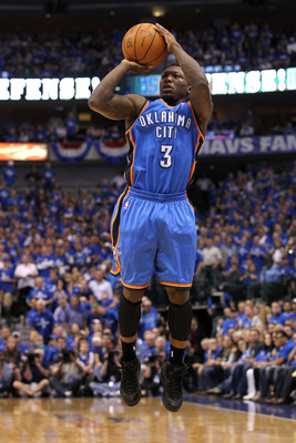 DALLAS, TX - MAY 17:  Nate Robinson #3 of the Oklahoma City Thunder shoots the ball while taking on the Dallas Mavericks in Game One of the Western Conference Finals during the 2011 NBA Playoffs at American Airlines Center on May 17, 2011 in Dallas, Texas