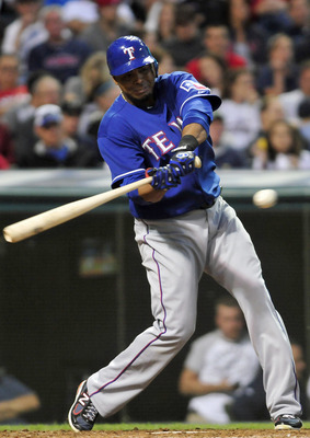 CLEVELAND, OH - JUNE 3: Nelson Cruz #17 of the Texas Rangers hits a two run home run during the seventh inning against the Cleveland Indians at Progressive Field on June 3, 2011 in Cleveland, Ohio.  (Photo by Jason Miller/Getty Images)