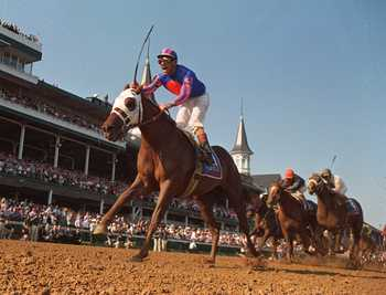 Monzon's sire Thunder Gulch winning the 1995 Kentucky Derby