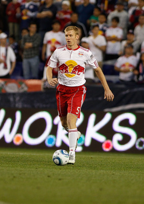 HARRISON, NJ - APRIL 30:  Tim Ream #5 of the New York Red Bulls plays the ball against Sporting KC on April 30, 2011 at Red Bull Arena in Harrison, New Jersey. The Red Bulls defeated the Sporting KC 1-0.  (Photo by Mike Stobe/Getty Images for New York Red