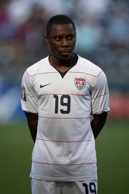 SEATTLE - JULY 04:  Freddy Adu #19 of USA looks on before the 2009 CONCACAF Gold Cup game against Grenada on July 4, 2009 at Qwest Field in Seattle, Washington. (Photo by Otto Greule Jr/Getty Images)