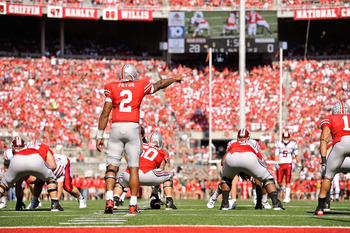 COLUMBUS, OH - OCTOBER 9:  Quarterback Terrelle Pryor #2 of the Ohio State Buckeyes calls a play against the Indiana Hoosiers at Ohio Stadium on October 9, 2010 in Columbus, Ohio.  (Photo by Jamie Sabau/Getty Images)