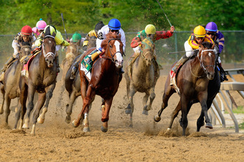 BALTIMORE, MD - MAY 21:  Jockey Jesus Castanon guides Shackleford #5 (C) out of the fourth turn to win the 136th running of the Preakness Stakes at Pimlico Race Course on May 21, 2011 in Baltimore, Maryland.  (Photo by Rob Carr/Getty Images)