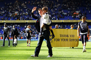 LONDON, ENGLAND - MAY 22: Rafael van der Vaart of Tottenham Hotspur waves to the fans after the Barclays Premier League match between Tottenham Hotspur and Birmingham City at White Hart Lane on May 22, 2011 in London, England.  (Photo by Julian Finney/Get