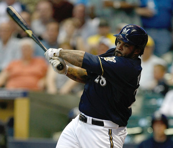 MILWAUKEE, WI - JUNE 7: Prince Fielder #28 of the Milwaukee Brewers bats against the New York Mets at Miller Park on June 7, 2011 in Milwaukee, Wisconsin. (Photo by Scott Boehm/Getty Images)