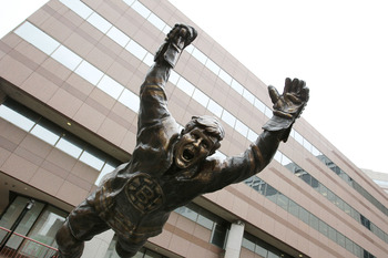 BOSTON, MA - MAY 23:  A sculpture of Bobby Orr stands in front of TD Garden prior to Game Five of the Eastern Conference Finals between the Tampa Bay Lightning and Boston Bruins during the 2011 NHL Stanley Cup Playoffs on May 23, 2011 in Boston, Massachus