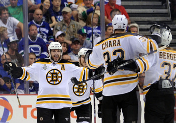 VANCOUVER, BC - JUNE 04:  Mark Recchi #28 of the Boston Bruins celebrates with his teammates Zdeno Chara #33 and Patrice Bergeron #37 after scoring a goal in the second period against Roberto Luongo #1 of the Vancouver Canucks during Game Two of the 2011