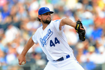 KANSAS CITY, MO - JUNE 4:  Starting pitcher Luke Hochevar #44 of the Kansas City Royals throws a pitch against the Minnesota Twins at Kauffman Stadium on June 4, 2011 in Kansas City, Missouri. (Photo by G. Newman Lowrance/Getty Images)