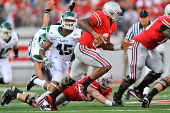 COLUMBUS, OH - SEPTEMBER 25:  Linebacker Matt Boyd #45 of the Eastern Michigan Eagles chases down quarterback Terrelle Pryor #2 of the Ohio State Buckeyes at Ohio Stadium on September 25, 2010 in Columbus, Ohio.  Ohio State won 73-20. (Photo by Jamie Saba