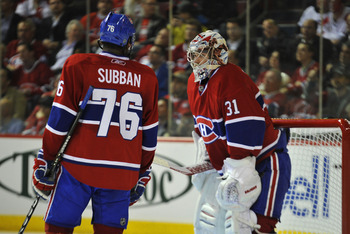 MONTREAL, QC - APRIL 18:  P.K. Subban #76 of the Montreal Canadiens has words with teammate Carey Price #31 after going down two goals to the Boston Bruins in Game Three of the Eastern Conference Quarterfinals during the 2011 NHL Stanley Cup Playoffs at B