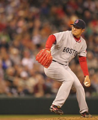 SEATTLE - SEPTEMBER 15:  Relief pitcher Hideki Okajima #37 of the Boston Red Sox pitches against the Seattle Mariners at Safeco Field on September 15, 2010 in Seattle, Washington. (Photo by Otto Greule Jr/Getty Images)