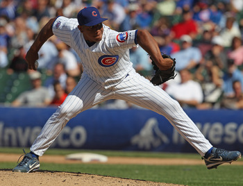 CHICAGO, IL - JUNE 01:  Carlos Marmol #49 of the Chicago Cubs pitches against the Houston Astros at Wrigley Field on June 1, 2011 in Chicago, Illinois. The Astros defeated the Cubs 3-1.  (Photo by Jonathan Daniel/Getty Images)