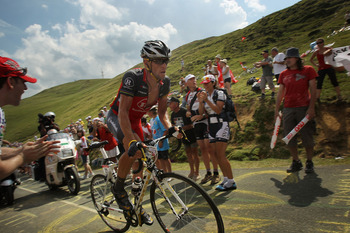 PAU, FRANCE - JULY 20:  American Lance Armstrong with team RadioShack rides in a breakaway during stage 16 of the Tour de France on July 20, 2010 in Pau, France. Armstrong started the ride between Bagneres-de-Luchon and Pau in 31st place. French rider Pie