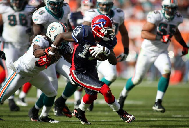 MIAMI - DECEMBER 19:  Receiver Steve Johnson #13 of the Buffalo Bills catches a pass  against the Miami Dolphins at Sun Life Stadium on December 19, 2010 in Miami, Florida.The Bills defeated the Dolphins 17-14.  (Photo by Marc Serota/Getty Images)