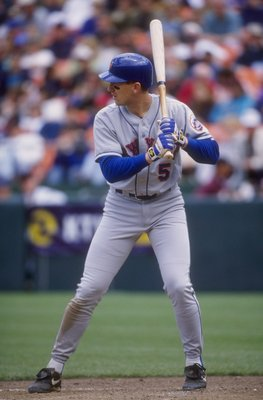 16 May 1998:  Infielder John Olerud of the New York Mets in action during a game against the San Francisco Giants at 3 Com Park in San Francisco, California.  The Mets beat the Giants 4-1. Mandatory Credit: Otto Greule Jr.  /Allsport