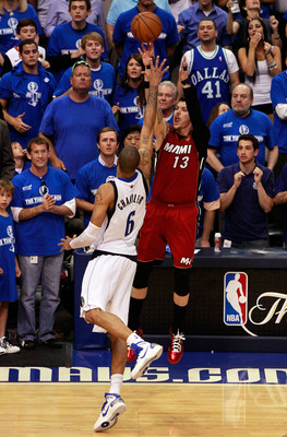 DALLAS, TX - JUNE 07:  Mike Miller #13 of the Miami Heat misses the final field goal attempt of the game against Tyson Chandler #6 of the Dallas Mavericks in Game Four of the 2011 NBA Finals at American Airlines Center on June 7, 2011 in Dallas, Texas. Th