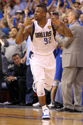 DALLAS, TX - JUNE 07:  DeShawn Stevenson #92 of the Dallas Mavericks reacts after he made a 3-point shot in the first half against the Miami Heat in Game Four of the 2011 NBA Finals at American Airlines Center on June 7, 2011 in Dallas, Texas. NOTE TO USE