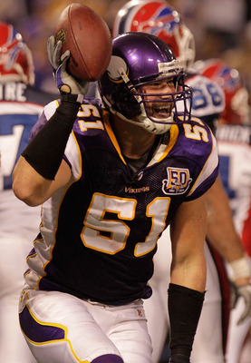 MINNEAPOLIS, MN - DECEMBER 05: Ben Leber #51 of the Minnesota Vikings celebrates after a fourth quarter fumble recovery against the Buffalo Bills at the Mall of America Field at the Hubert H. Humphrey Metrodome on December 5, 2010 in Minneapolis, Minnesot