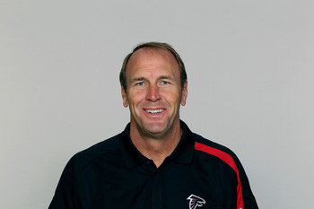 FLOWERY BRANCH, GA - CIRCA 2010: In this handout image provided by the NFL,  Mike Mularkey of the Atlanta Falcons poses for his NFL headshot circa 2010 at the Falcons Football Facility in Flowery Branch, Georgia.  (Photo by NFL via Getty Images)