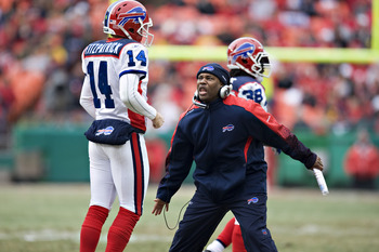 KANSAS CITY, MO - DECEMBER 13: Interim Head Coach Perry Fewell of the Buffalo Bills gets excited after a touchdown during NFL action against the Kansas City Chiefs at Arrowhead Stadium on December 13, 2009 Kansas City, Missouri.  The Bills defeated the Ch
