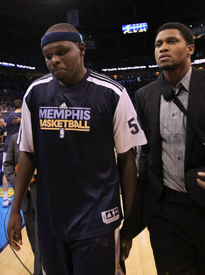 OKLAHOMA CITY, OK - MAY 15:  (L-R) Forward Zach Randolph #50 and Rudy Gay walk off the court after a 90-105 loss against the Oklahoma City Thunder in Game Seven of the Western Conference Semifinals in the 2011 NBA Playoffs on May 15, 2011 at Oklahoma City