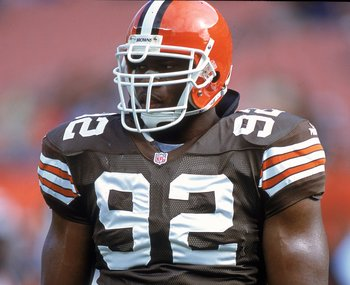 29 Oct 2000: Courtney Brown #92 of the Cleveland Browns walks on the field during a game against the Cincinnati Bengals at Browns Stadium in Cleveland, Ohio. The Bengals defeated the Browns 12-3.Mandatory Credit: Jonathan Daniel  /Allsport