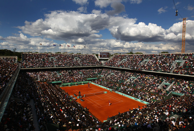 PARIS, FRANCE - MAY 31:  A general view of Court Chatrier during the men's singles quarterfinal match between Gael Monfils of France and Roger Federer of Switzerland on day ten of the French Open at Roland Garros on May 31, 2011 in Paris, France.  (Photo