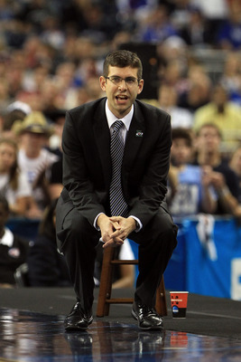 HOUSTON, TX - APRIL 04:  Head coach Brad Stevens of the Butler Bulldogs looks on from the sidelines against the Connecticut Huskies during the National Championship Game of the 2011 NCAA Division I Men's Basketball Tournament at Reliant Stadium on April 4