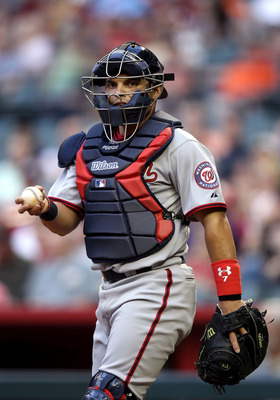 PHOENIX, AZ - JUNE 03:  Catcher Ivan Rodriguez #7 of the Washington Nationals in action during the Major League Baseball game against the Arizona Diamondbacks at Chase Field on June 3, 2011 in Phoenix, Arizona. The Diamondbacks defeated the Nationals 4-0.