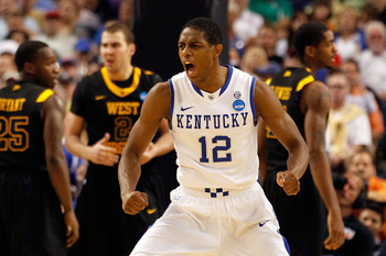 TAMPA, FL - MARCH 19:  Brandon Knight #12 of the Kentucky Wildcats reacts in the second half agianst the West Virginia Mountaineers during the third round of the 2011 NCAA men's basketball tournament at St. Pete Times Forum on March 19, 2011 in Tampa, Flo