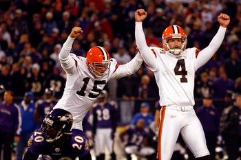 BALTIMORE - NOVEMBER 18:  Kicker Phil Dawson #4 of the Cleveland Browns celebrates after kicking the winning field goal in overtime during the game against the Baltimore Ravens on November 18, 2007 at M&T Bank Stadium in Baltimore, Maryland.  (Photo by Ja