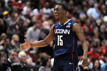ANAHEIM, CA - MARCH 24:  Kemba Walker #15 of the Connecticut Huskies reacts after a play against the San Diego State Aztecs during the west regional semifinal of the 2011 NCAA men's basketball tournament at the Honda Center on March 24, 2011 in Anaheim, C