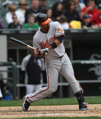 CHICAGO, IL - MAY 01: Derrick Lee #25 of the Baltimore Orioles takes a swing against the Chicago Whiute Sox at U.S. Cellular Field on May 1, 2011 in Chicago, Illinois. The Orioles defeated the White Sox 6-4. (Photo by Jonathan Daniel/Getty Images)