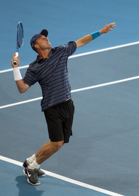 ADELAIDE, AUSTRALIA - JANUARY 13:  Ivan Lendl of team International serves during his match against John McEnroe of Team USA during day three of the World Tennis Challenge at Memorial Drive on January 13, 2011 in Adelaide, Australia.  (Photo by Morne de K