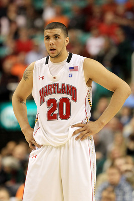 GREENSBORO, NC - MARCH 10:  Jordan Williams #20 of the Maryland Terrapins looks on while playing against the North Carolina State Wolfpack during the first round of the 2011 ACC men's basketball tournament at the Greensboro Coliseum on March 10, 2011 in G