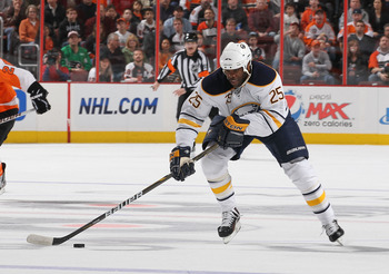 PHILADELPHIA - MARCH 05:  Mike Grier #25 of the Buffalo Sabres in action against The Philadelphia Flyers during their game on March 5, 2011 at The Wells Fargo Center in Philadelphia, Pennsylvania.  (Photo by Al Bello/Getty Images)