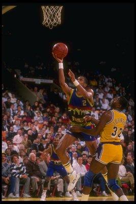 1989-1990:  Guard Alex English of the Denver Nuggets goes up for two during a game versus the Los Angeles lakers at the Great Western Forum in Inglewood, California. Mandatory Credit: Tim DeFrisco  /Allsport Mandatory Credit: Tim DeFrisco  /Allsport