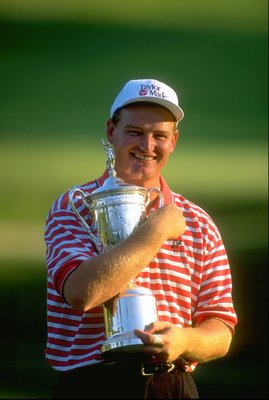 15 Jun 1997:  Ernie Els of South Africa hugs the trophy after winning the US Open at the Congressional Country Club in Bethesda, Maryland, USA. \ Mandatory Credit: David  Cannon/Allsport