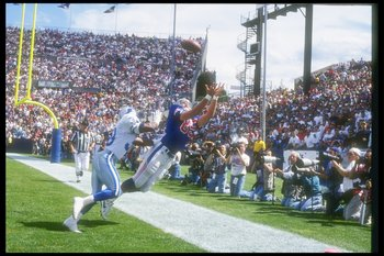 12 Sep 1993:  Tight end Marv Cook of the New England Patriots attempts to make a sideline catch during a game against the Detroit Lions at Foxboro Stadium in Foxboro, Massachusetts.  The Lions won the game in overtime, 19-16. Mandatory Credit: Rick Stewar