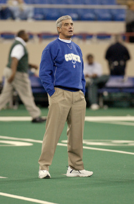23 Dec 2001:  Head coach Jim Mora of the Indianapolis Colts during the game against the New York Jets at the RCA Dome in Indianapolis, Indiana. The Jets won 29-28. DIGITAL IMAGE. Mandatory Credit: Ron Hoskins/Getty Images