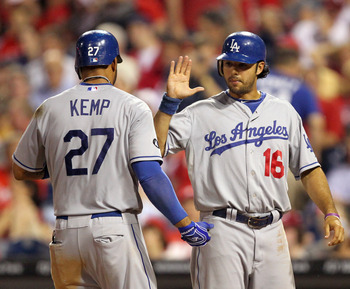 PHILADELPHIA - JUNE 7: Center fielder Matt Kemp #27 of the Los Angeles Dodgers is congratulated by right fielder Andre Ethier #16 after hitting a home run during a game against the Philadelphia Phillies at Citizens Bank Park on June 7, 2011 in Philadelphi