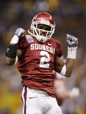 NEW ORLEANS - JANUARY 4:  Defensive back Derrick Strait #2 of Oklahoma celebrates after recovering a fumble by LSU in the first quarter of the Nokia Sugar Bowl National Championship game on January 4, 2004 at the Louisiana Superdome in New Orleans, Louisi